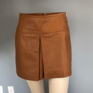 NWOT T by Alexander Wang Brown Leather Mini Skirt